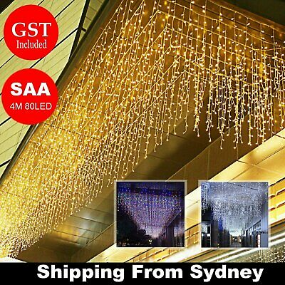 SAA 4M 80LED Icicle String Lights Fairy Curtain Decoration Christmas Wedding Fan