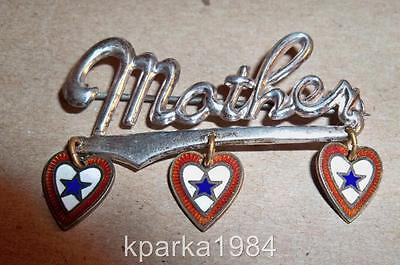 Ww2 Era Mother's 3 Blue Star 3 Sons In Service Pin - Sterling