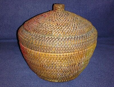 Antique Vintage woven wicker basket sewing with lid