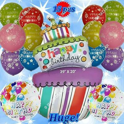 Huge Happy Birthday Balloons Cake Number Animals Decor Party Supplies D