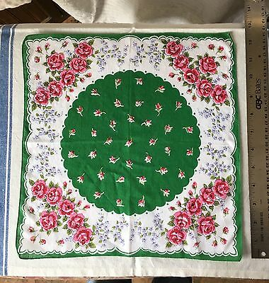 Vintage green and white with pink roses Hanky bound edges