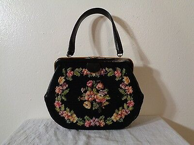 Vintage Black With Pink Flowers Needlepoint Tapestry Kelly Purse