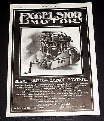 1909 Old Magazine Print Ad, Excelsior Car Motor, Silent-Simple-Compact-Powerful!