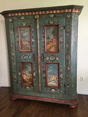 "European Painted Armoire Cabinet ""Circa 1797"""