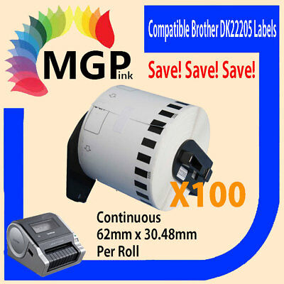 100 Compatible Brother for DK22205 Continuous Roll-62mm x 30.45m QL-570 QL-720