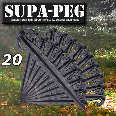 20x 300mm SUPA-PEG TENT SAND SOFT SOIL PEGS POLYPROPYLENE BLACK HEAVY DUTY NEW