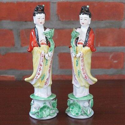 """Pair of Guanyin Kwan Yin Mercy Goddess Porcelain Figurines Statues 10"""" tall New"""