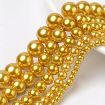 200 TOP QUALITY GOLD MIXED SIZE ROUND GLASS PEARL BEADS 4mm 6mm 8mm 10mm 12mm