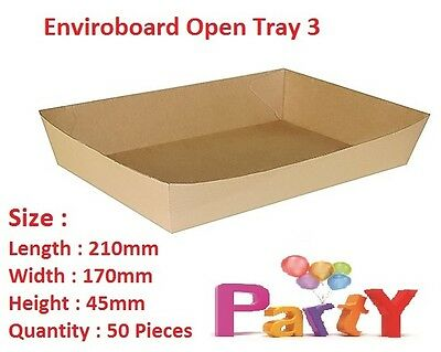50x Cardboard Tray 3, 210x170x45mm, Enviroboard Disposable, Food Chips