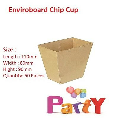 50x Cardboard Chip Cup, 110x80x90mm, Enviroboard Disposable, Food Chip