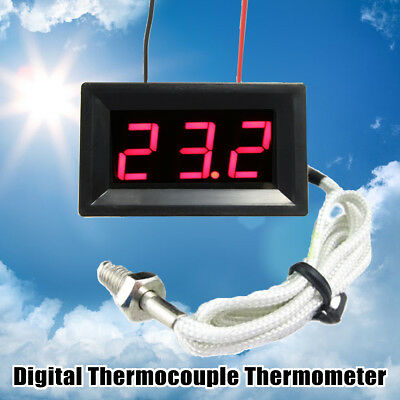DC 12V Red LED Digital Thermocouple Thermometer Temperature Meter Probe 0~999°C