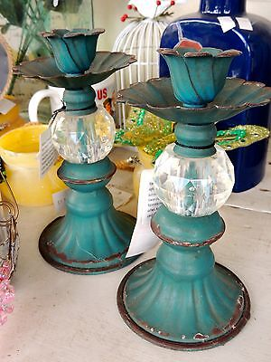 Pair Of Shabby Chic Candlesticks - Teal/crystal 15Cm High  X 10Cm W New