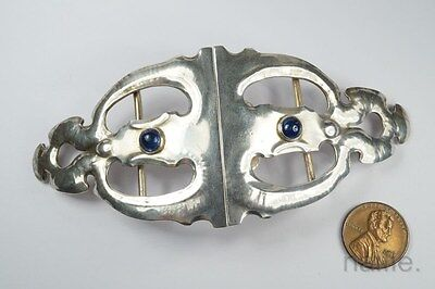 BEAUTIFUL ANTIQUE ENGLISH SILVER & SAPPHIRE ARTS & CRAFTS BELT BUCKLE c1903