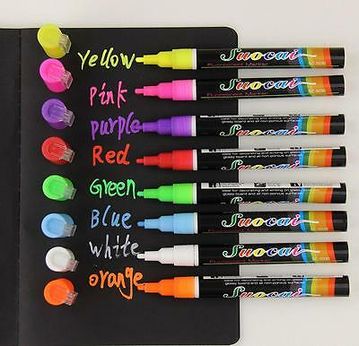 8 x Liquid Chalk Marker Pens Led Writing Board Glass 3mm/6mm Bullet & Chisel Tip