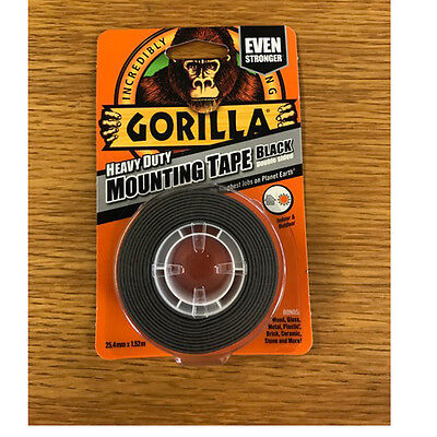 Gorilla Glue 1.5M Heavy Duty Double Sided Waterproof Black Mounting Tape 3044201