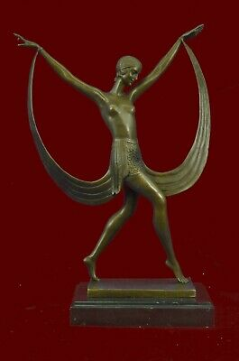 Bronze Sculpture Statue Art Nouveau Ribbon Dancer Lost Wax Method bronze Figure
