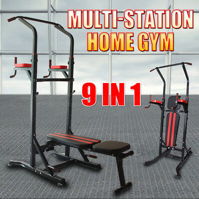 9 IN1 Power Tower Knee Raise Chin Up Station Dip Pull Up Weight Bench Home Gym