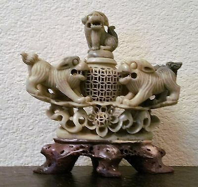 Antique Chinese Master Hand Carved Soapstone Incense Burner Foo Dogs