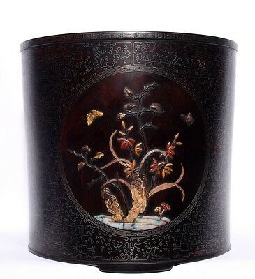 Large Unique Chinese Antique Hand Carving Rosewood Brush Pot Collection US137