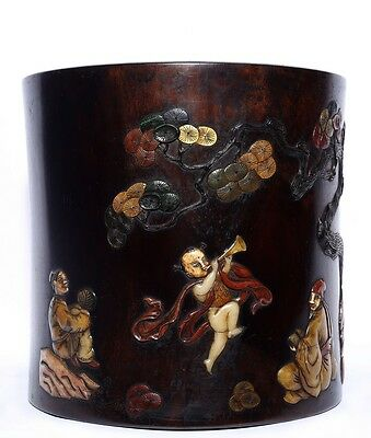 Large Chinese Unique Antique Hand Carving Rosewood Brush Pot Collection US138