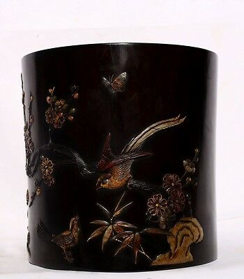 Large Rare Chinese Antique Hand Carving Rosewood Brush Pot Collection US143