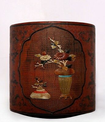 """Nice Antique Chinese Hand Carving Rosewood Brush Pot Mark """"QianLong"""" US150"""
