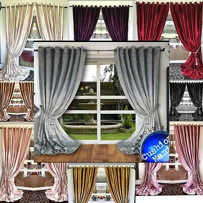 Belle Maison Crushed Velvet Eyelet Ring Top Lined Curtains 3 Colours FREE P/&P