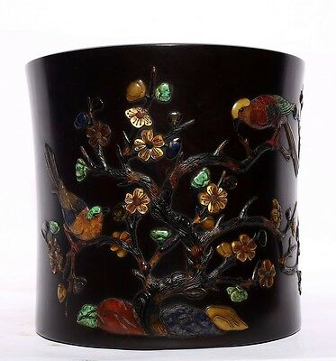 Large Nice Chinese Antique Hand Carving Rosewood Brush Pot Collectible US135