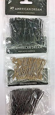 "American Dream Hair Accessories 2.5"" waved pins 100 pack"