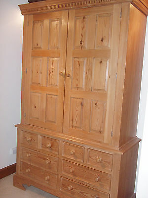 Unusual large pine armoire - wardrobe and chest of drawers all in one!