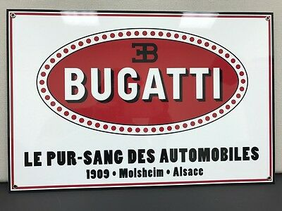 Bugatti rare vintage advertising sign baked large 18x12 thick