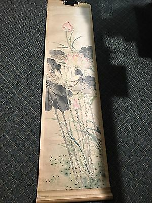 Antique Chinese painting scroll calligraphy landscape painting .1