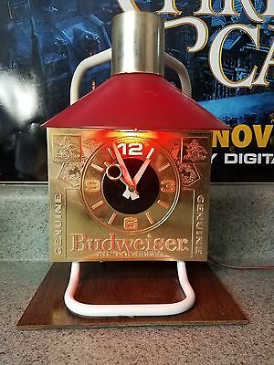 Vintage Budweiser Table Top Light / Clock Combo. Working