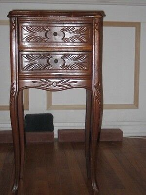 Pair Walnut carved nightstands
