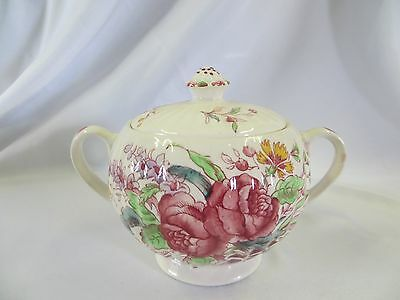 BOOTHS - 4848 - Ribbed Floral  - SUGAR BOWL WITH LID - 1222
