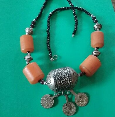 AMBER RESIN SILVER  EGG Bead Antique Berber Necklace