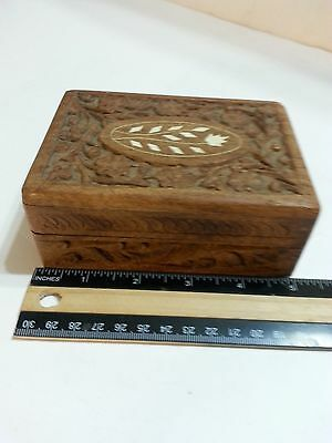Antique hand carved wooden trinket box