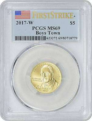 2017-W Boys Town Gold Commemorative First Strike $5 MS69 Mint State 69