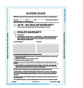 Car Dealer Buyer Guides  4 sided seal Pack of 100 - AS IS FORMS 2018 verison
