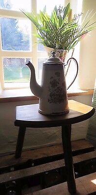 Vintage French Wooden Three Legged Milking Stool ~ Country Home