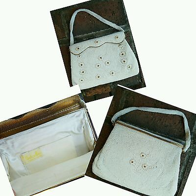 Antique Vintage Satco Beaded HandBag Purse Made In Japan Ivory Gold Floral