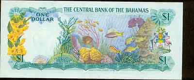 1974 Bahamas One Dollar Note  Pick 35 B About Uncirculated  Colorful Coral Reef