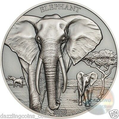 Elephant- Proof Tusks Antique Finish - HiRe Minted Coin-1oz.silver 2016 Tanzania