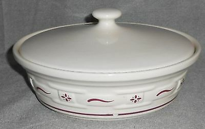 Longaberger WOVEN TRADITIONS RED PATTERN 1 QT Casserole w/Lid MADE IN USA
