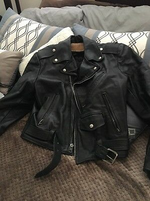 Vintage 1980's  Excelled Black Leather Motorcycle Jacket Size M