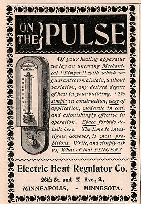 1894 A Ad  Electric Heat Regulator Co Pulse Mechanical Finger Thermostat