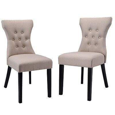 Set of 2 Modern Elegant Dining Chairs Beige