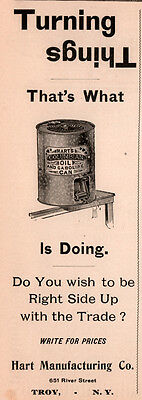 1896  Ad Hart Mfg Co Troy Columiban Oil Gas Can