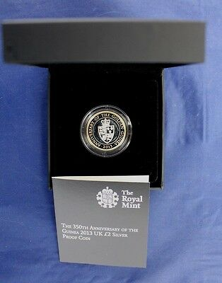 "2013 Silver Proof £2 coin ""Guinea 350th Anniversary"" in Case with COA   (Z4/37)"