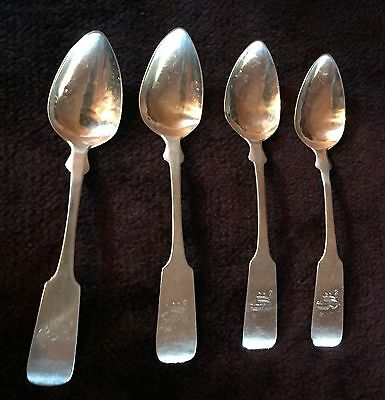 Early 1800's Coin Silver Teaspoons Set of Four(4) attributed to Willard & Hawley